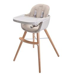 Ambermier Kids Wood High Chair, Perfect 3 in 1 Convertible Highchair with Harness, Removable Tra ...