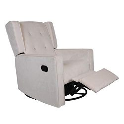 Polar Aurora Swivel Gliding Rocker Recliner Suede Tufted Upholstered Glider for Nursery, Study a ...