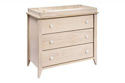 Babyletto Sprout 3-Drawer Changer Dresser with Removable Changing Tray, Washed Natural and White