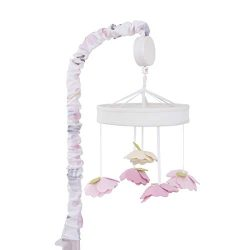 NoJo Watercolor Deer Nursery Crib Musical Mobile with Dimensional Felt Flowers, Pink/Taupe/Dusty ...
