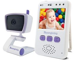 Moonybaby Video Baby Monitor with Full Color LCD Screen, Auto Night Vision, Two Way Talk Back, Z ...