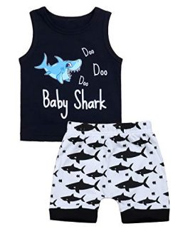Baby Boy Clothes Shark and Doo Doo Print Summer Cotton Sleeveless Outfits Set Tops and Short Pan ...