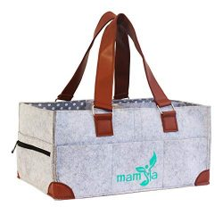 Leather Handles Baby Diaper Caddy Organizer by MamiaLux: Portable Storage Tote for Newborn, Make ...
