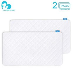 2 Pack Crib Mattress Protector, Toddler Waterproof Organic Bamboo Quilted Fitted Mattress Pad wi ...