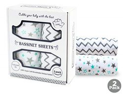 Baby Bassinet Sheet Set – 2 Pack – Keep Baby Happily Sleeping in Cold & Hot Weather w/ ...