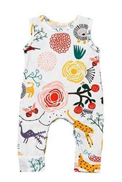 Happy kido Newborn Baby Girls Flower Animal Print Romper Bodysuit Outfits Spring Summer Tops (Wh ...