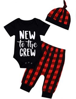 Newborn Baby Boy Girl Clothes Little Man Long Sleeve Romper,Plaid Pants + Cute Hat 3pcs Outfit S ...