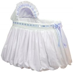 Baby Doll Bedding Pretty Ribbon Bassinet Bedding Set, Blue