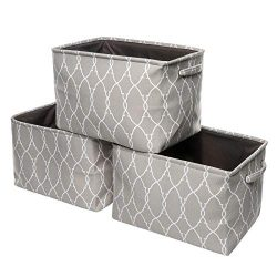 Foldable Storage Baskets Set for Shelves – 3Pack Storage Large Bins Organizer Set with Car ...