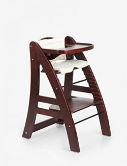 Sepnine Height Adjustable Wooden Highchair Baby High Chair with Padded Cushion 6511 (Dark Cherry) …