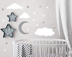Easu Clouds Sky Wall Vinly Wall Decals Moon and Stars Wall Decal Kids Baby Room Decoration Good  ...