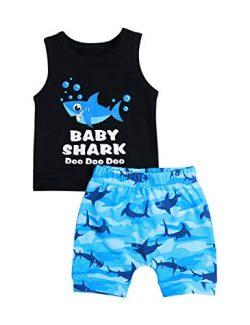 Baby Boy Clothes Shark and Doo Doo Print Summer Cotton Sleeveless Outfits Set Tops and Short Pan ...