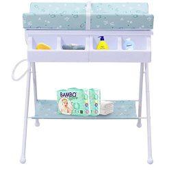 HONEY JOY Baby Changing Table, Folding Diaper Station Nursery Organizer for Infant (Blue)