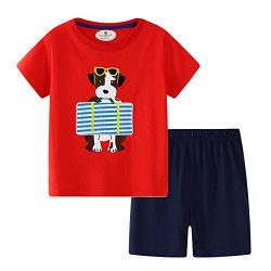 BBBNice Toddler Boys Summer Outfits Short Sleeve Playwear Cotton Sets Dog 2t