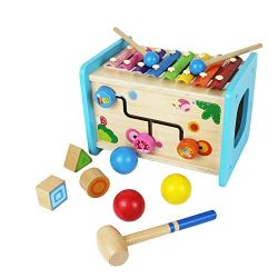 Homlory Developmental Educational Wooden Activity Cube with Xylophone Shape Sorter and Pounding  ...