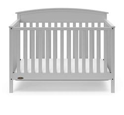 Graco Everly 5-in-1 Upholstered Convertible Crib with Reversible Headboard Pebble Gray/Gray Easi ...