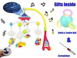Baby Musical Mobile Crib with Music & Lights,Baby Crib Decoration Newborn Gift,Projection an ...