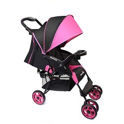 Wonder buggy Lightweight Baby Stroller, 5-Point Safety System with Round Canopy and Basket, Mult ...
