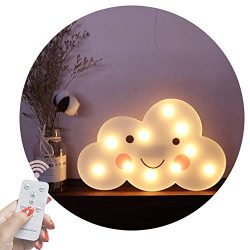 Obrecis Light Up Cloud Marquee Sign, Remote Control Cloud Marquee Light White Printed Cloud Lamp ...