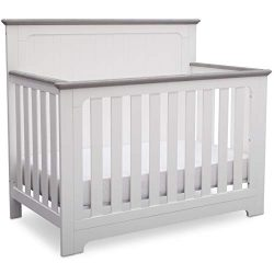 Delta Children Providence 4-in-1 Convertible Baby Crib, Bianca White with Rustic Haze