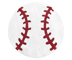 Sweet Jojo Designs Red and White Round Accent Floor Rug or Bath Mat for Baseball Patch Sports Co ...