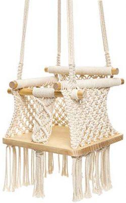 Mkono Baby Swing Hanging Chair Handmade Macrame Cotton Beige Wooden Background Indoor Outdoor In ...
