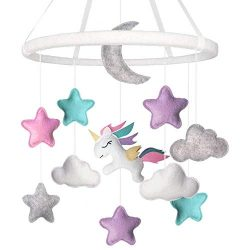 Teeny Giggles Unicorn Felt Baby Mobile – Stars, Moon, Clouds