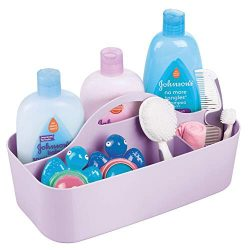 mDesign Plastic Portable Nursery Storage Organizer Caddy Tote – Divided Basket Bin with Ha ...