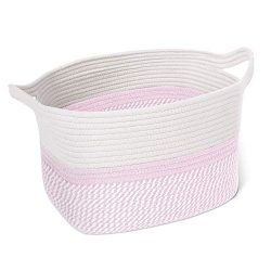CHICVITA Square Cotton Rope Woven Basket with Handles for Books, Magazines, Toys – Cute De ...