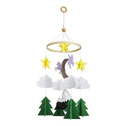 Baby Crib Mobile – Unicorn Starry Woodland Night Felt Nursery Ceiling Decoration for Boys  ...