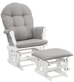 NEW Windsor Glider and Ottoman White Finish and Gray Cushions