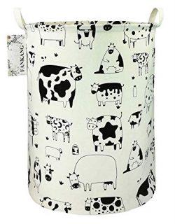 FANKANG Storage Bins Nursery Hamper Canvas Laundry Basket Foldable with Waterproof PE Coating La ...
