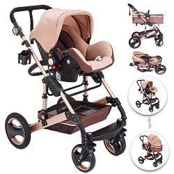 Happybuy 3 in 1 Foldable Luxury Baby Stroller Travel System with Anti-Shock Springs Newborn Baby ...