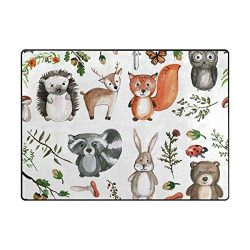Vantaso Soft Foam Area Rugs Cute Woodland Animals Non Slip Play Mats for Kids Boys Girls Playing ...
