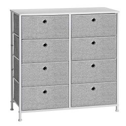 SONGMICS 4-Tier, Storage Dresser with 8 Easy Pull Fabric Drawers and Wooden Tabletop for Closets ...