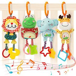 TUMAMA Baby Toys for 0, 3, 6, 9, 12 Months, Handbells Baby Rattles with Teethers Soft Plush Earl ...