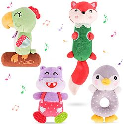 TUMAMA Baby Toys with Teethers Soft Cute Plush Stuffed Animal Rattles for 0, 3, 6, 9, 12 Months  ...