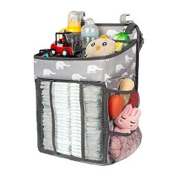 Selbor Diaper Caddy Organizer, Hanging Diaper Stacker Storage Bag for Changing Table, Crib, Play ...