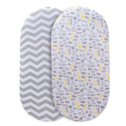 Momcozy Universal Bassinet Sheets Set 2 Pack for Boys & Girls, Soft & Breathable 100% Co ...