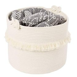"Large Woven Storage Baskets – 16"" x 13"" Cotton Rope Decorative Hamper for Nursery, T ..."