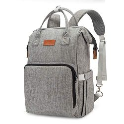 UBBCARE Diaper Bag Backpack Large Multi-Function Travel Back Pack Grey Baby Nappy Changing Bag f ...