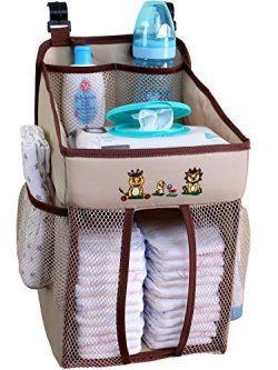 Baby Crib Diaper Caddy – Hanging Diaper Organizer – Storage for Baby Nursery – ...