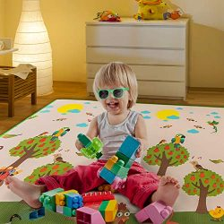 Non Toxic Waterproof Play Mat for Kids Game, Soft Baby Nursery Rug for Crawling, Two Sides of Le ...