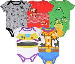 Disney Pixar Toy Story Baby Boy 5 Pack Bodysuit Buzz Lightyear Woody Rex Slinky Dog 6-9M