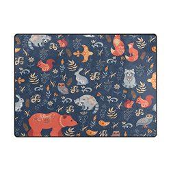 Vantaso Soft Foam Area Rugs Fairy Tale Forest Animals Bear Fox Non Slip Play Mats for Kids Boys  ...