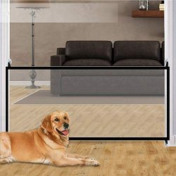 Magic Gate,70.9″x28.3″ Portable Folding Pet Gate Mesh Magic Gate for Dogs,Baby Safet ...