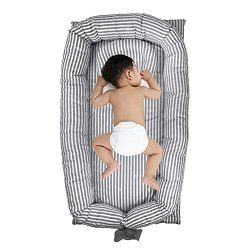 Windream Baby Bassinet Grey Striped-Baby Lounger Breathable, Washable, Portable and Lightweight  ...