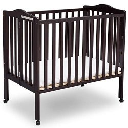 Delta Children Delta Children Folding Portable Mini Baby Crib with Mattress, Dark Espresso, Dark ...