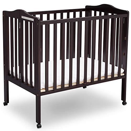 Delta Children Delta Children Folding Portable Mini Baby Crib with Mattress, Dark Espresso, Dark ...