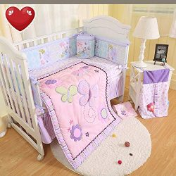 Brandream Crib Bedding Sets for Girls with Bumpers Butterfly Floral Baby Nursery Bedding, Pink & ...